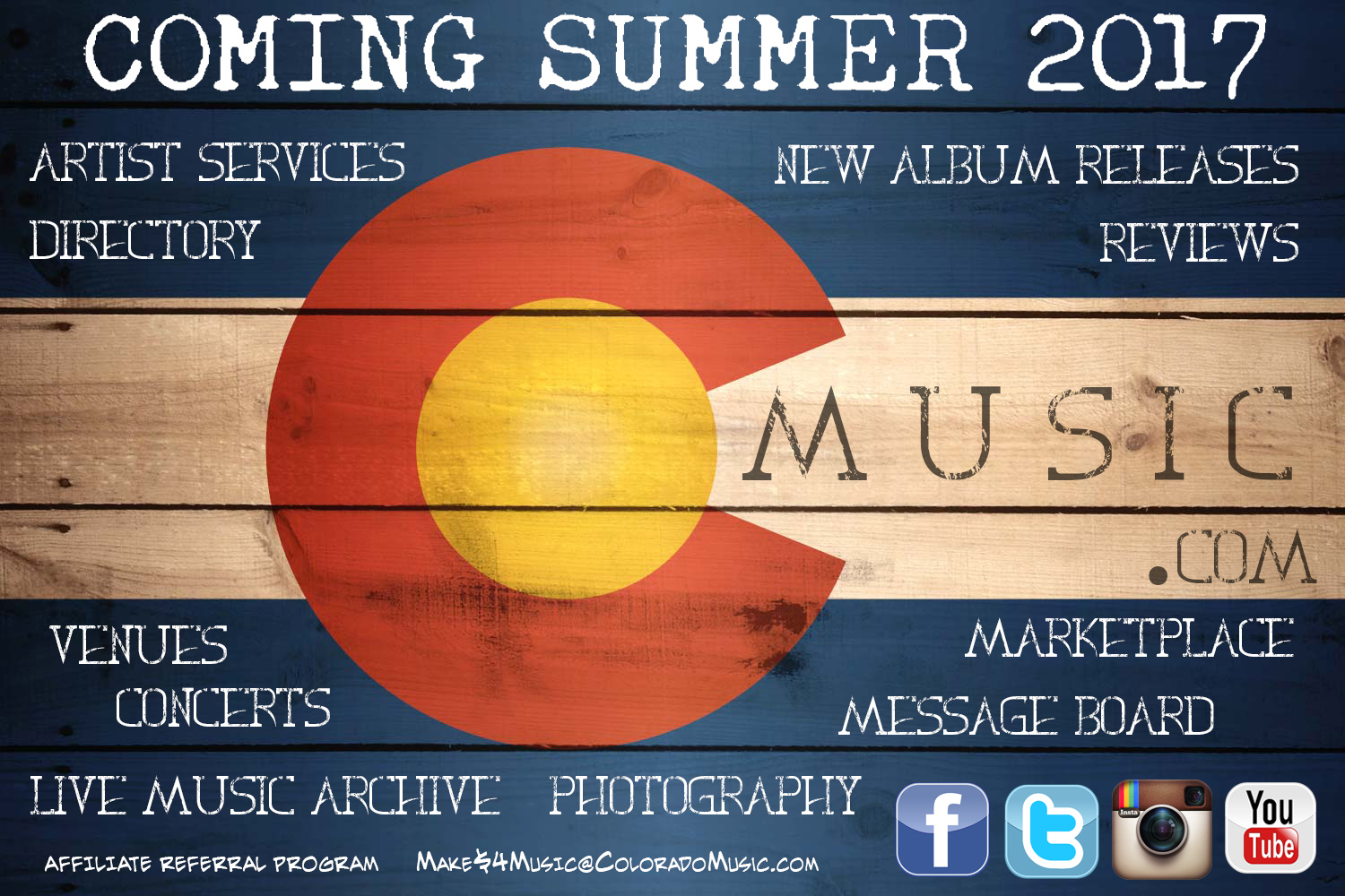 Coming Summer 2017 - Colorado Music, venues, concerts, live music, photography